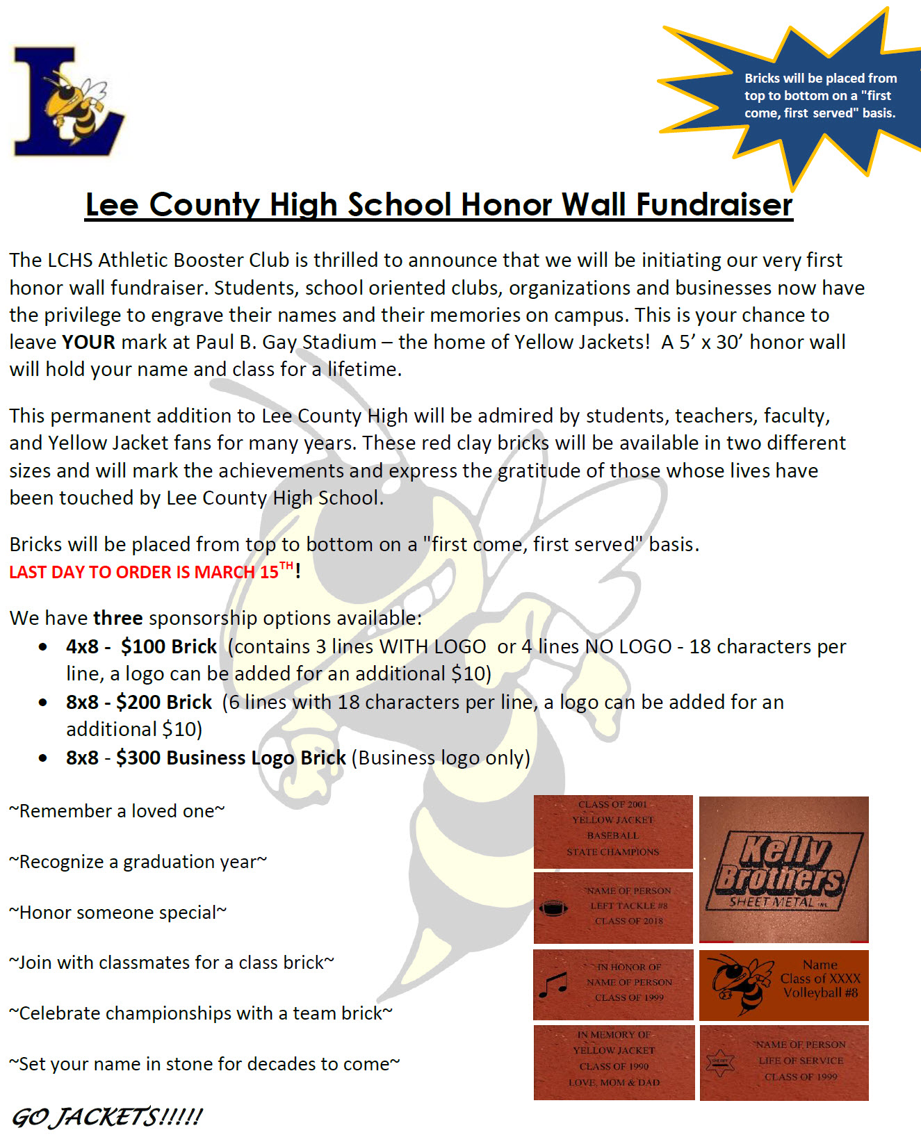 Lee County High School Athletic Booster Club Lee County High School Honor Wall