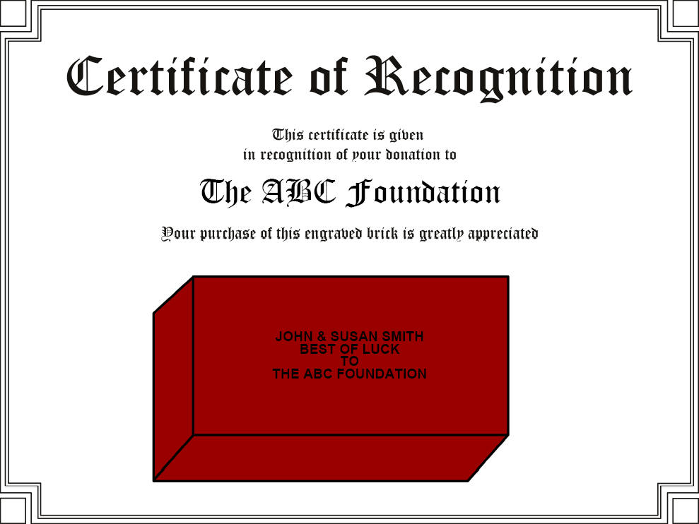 Brick Engraving Fundraiser Certificate Bricks R Us