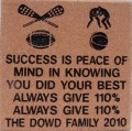 Engraved dowd family logo brick