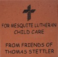Engraved mesquite lutheran child care logo brick
