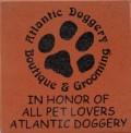 Engraved atlantic doggery logo brick